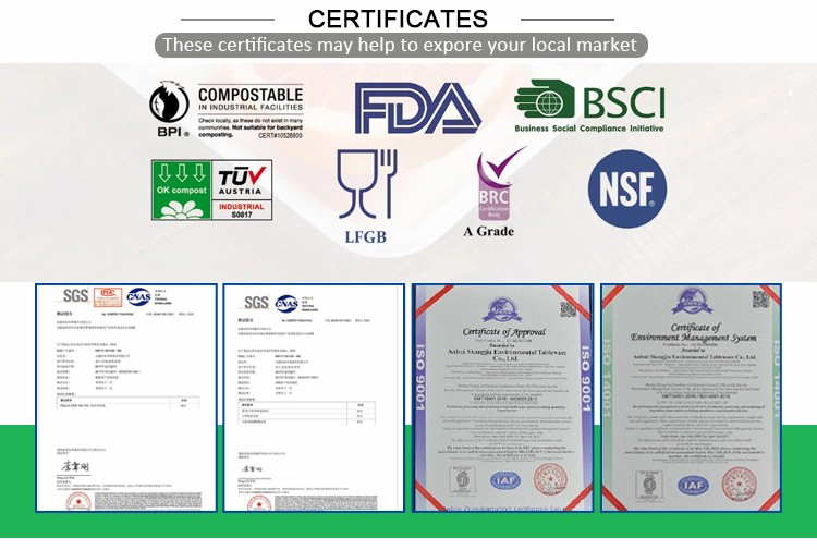Certificaters-FDA BSCI LFGB BRC NSF BPI Compostable-Food Packaging-Hefei CHIRAN Import and Export Co.,Ltd.